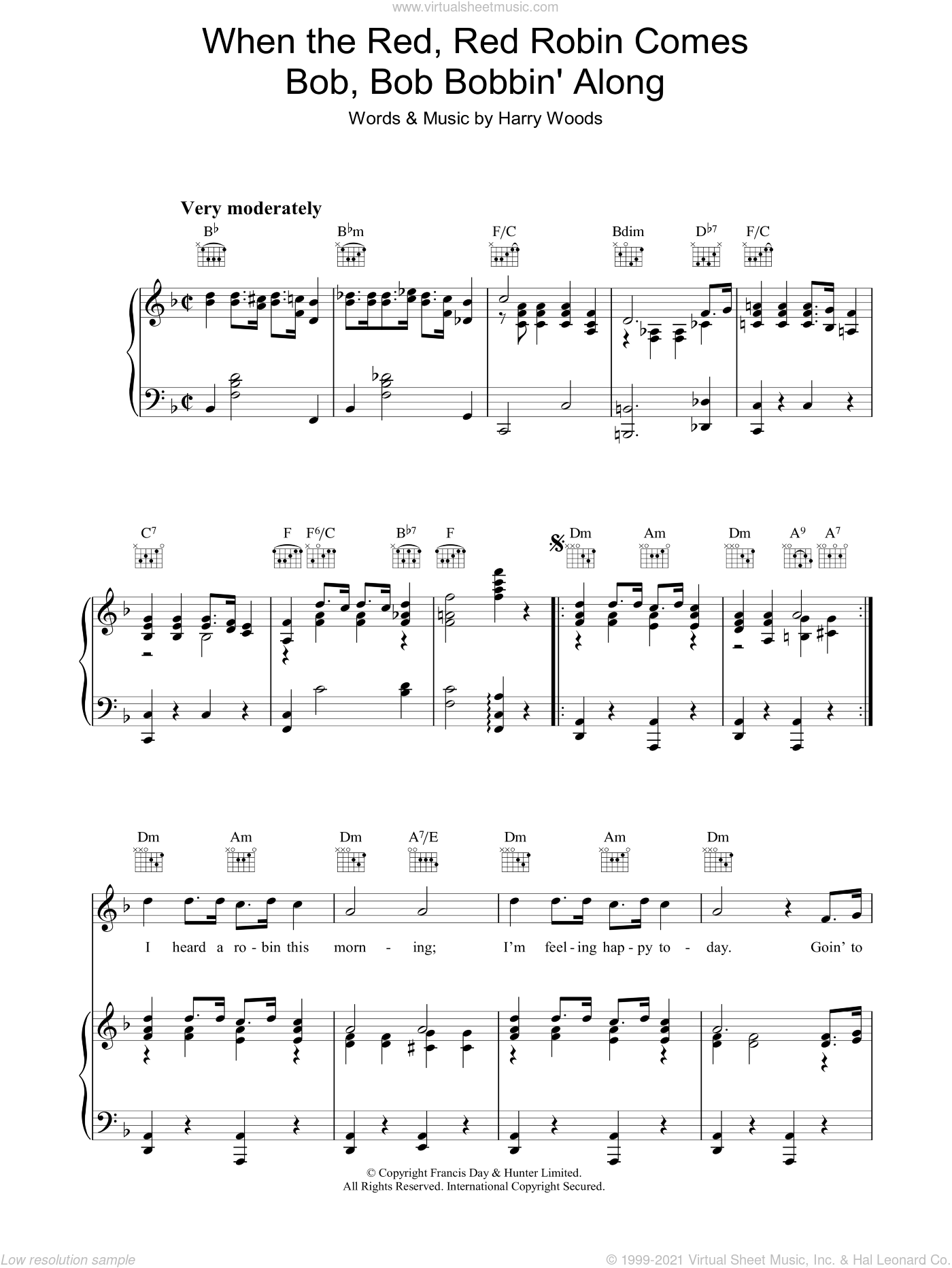 When The Red, Red Robin Comes Bob, Bob Bobbin' Along sheet music for voice, piano or guitar by Harry Woods. Score Image Preview.