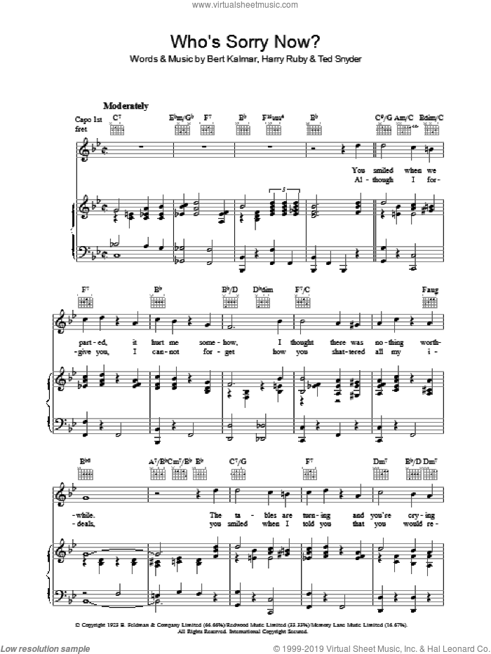 Who's Sorry Now? sheet music for voice, piano or guitar by Harry Ruby, Bert Kalmar and Ted Snyder, intermediate skill level