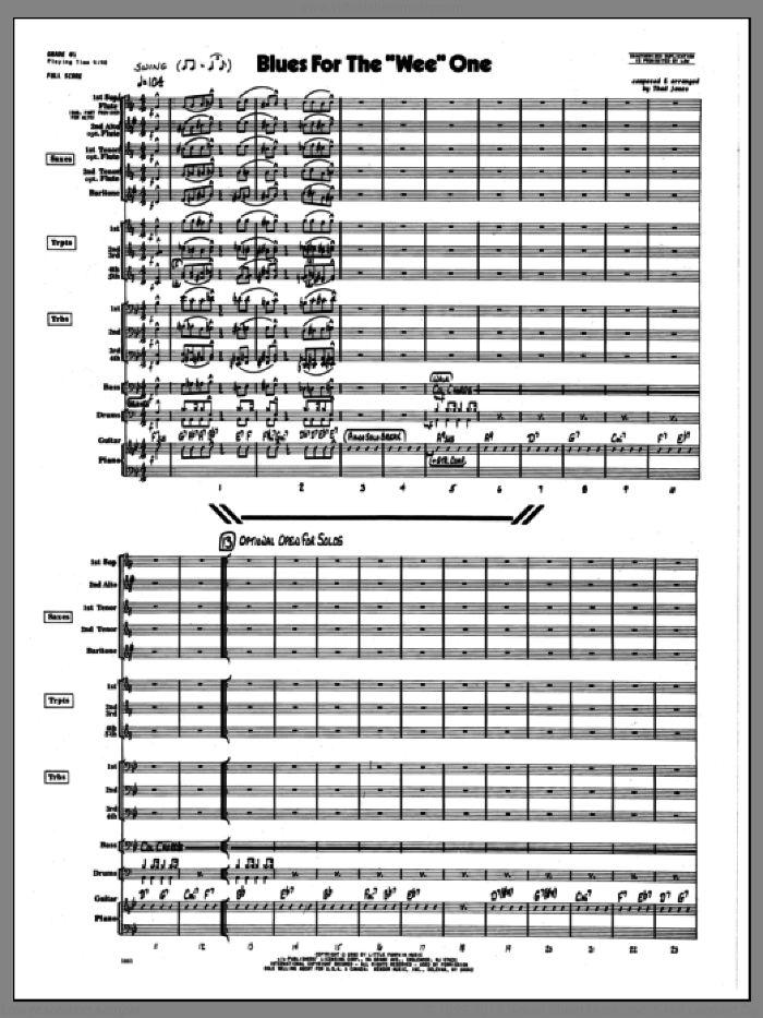 Blues For The 'Wee' One (COMPLETE) sheet music for jazz band by Thad Jones, intermediate skill level