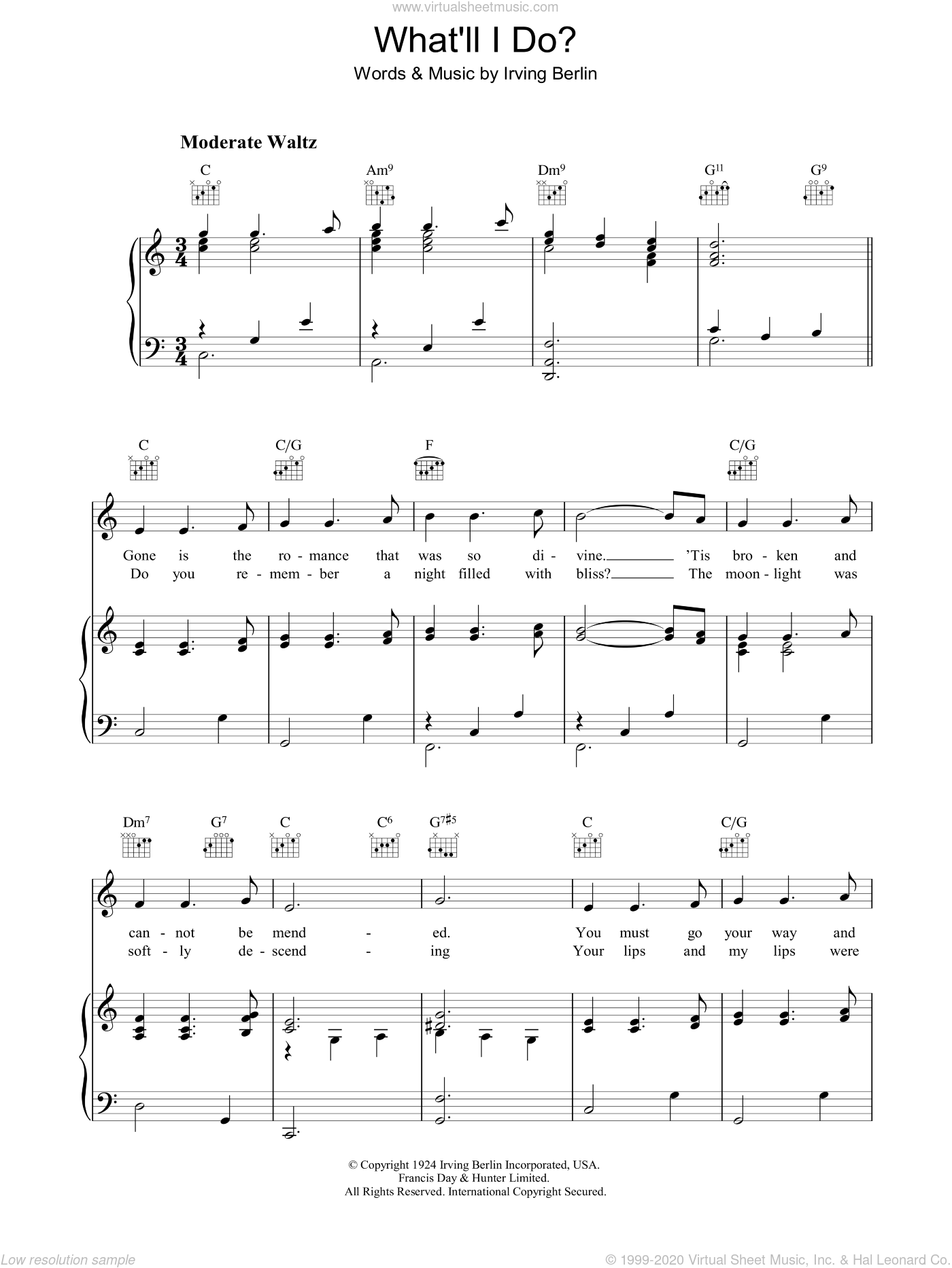 What'll I Do sheet music for voice, piano or guitar by Irving Berlin, intermediate skill level