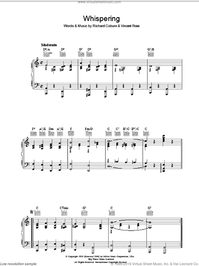 Whispering sheet music for voice, piano or guitar by Vincent Rose and Richard Coburn. Score Image Preview.