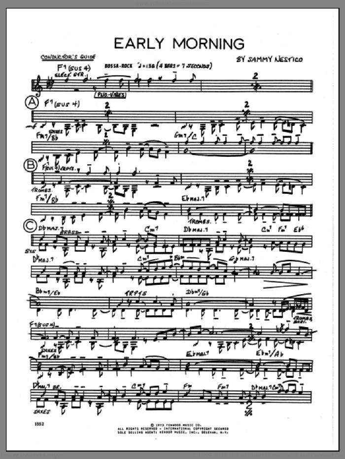 Early Morning (COMPLETE) sheet music for jazz band by Sammy Nestico, intermediate skill level