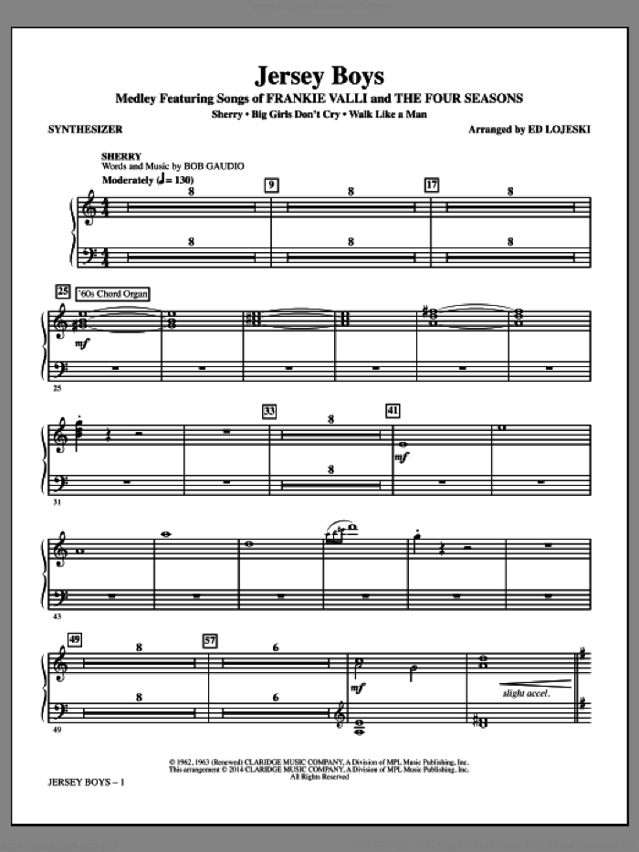 Jersey Boys (Medley), featuring songs of frankie valli and the four seasons sheet music for orchestra/band (synthesizer) by Bob Crewe, Ed Lojeski, The Four Seasons and Bob Gaudio, intermediate skill level