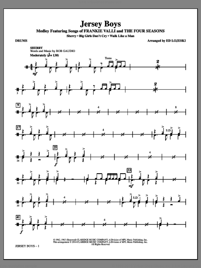 Jersey Boys (Medley), featuring songs of frankie valli and the four seasons sheet music for orchestra/band (drums) by Bob Crewe, Ed Lojeski, The Four Seasons and Bob Gaudio, intermediate skill level