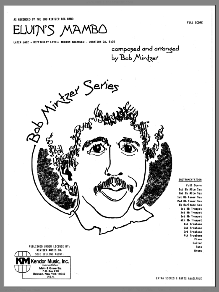 Elvin's Mambo (COMPLETE) sheet music for jazz band by Bob Mintzer, intermediate. Score Image Preview.