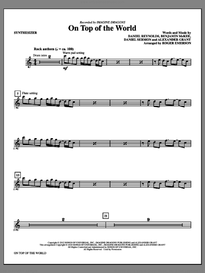 On Top of the World (complete set of parts) sheet music for orchestra/band by Roger Emerson, Alexander Grant, Benjamin McKee, Daniel Reynolds, Daniel Sermon and Imagine Dragons, intermediate skill level