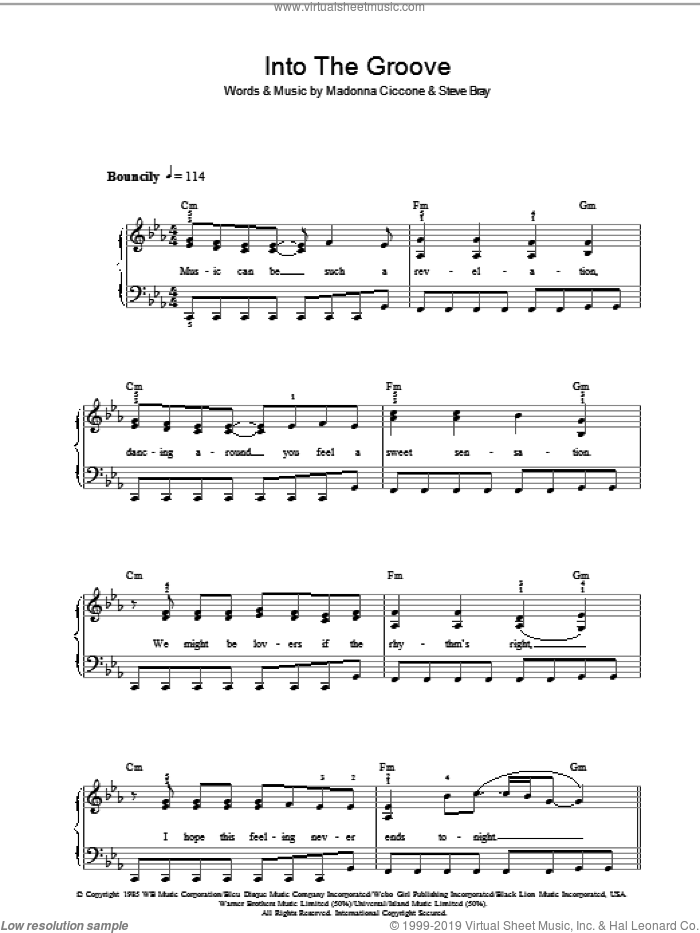 Into The Groove sheet music for voice, piano or guitar by Stephen Bray and Madonna