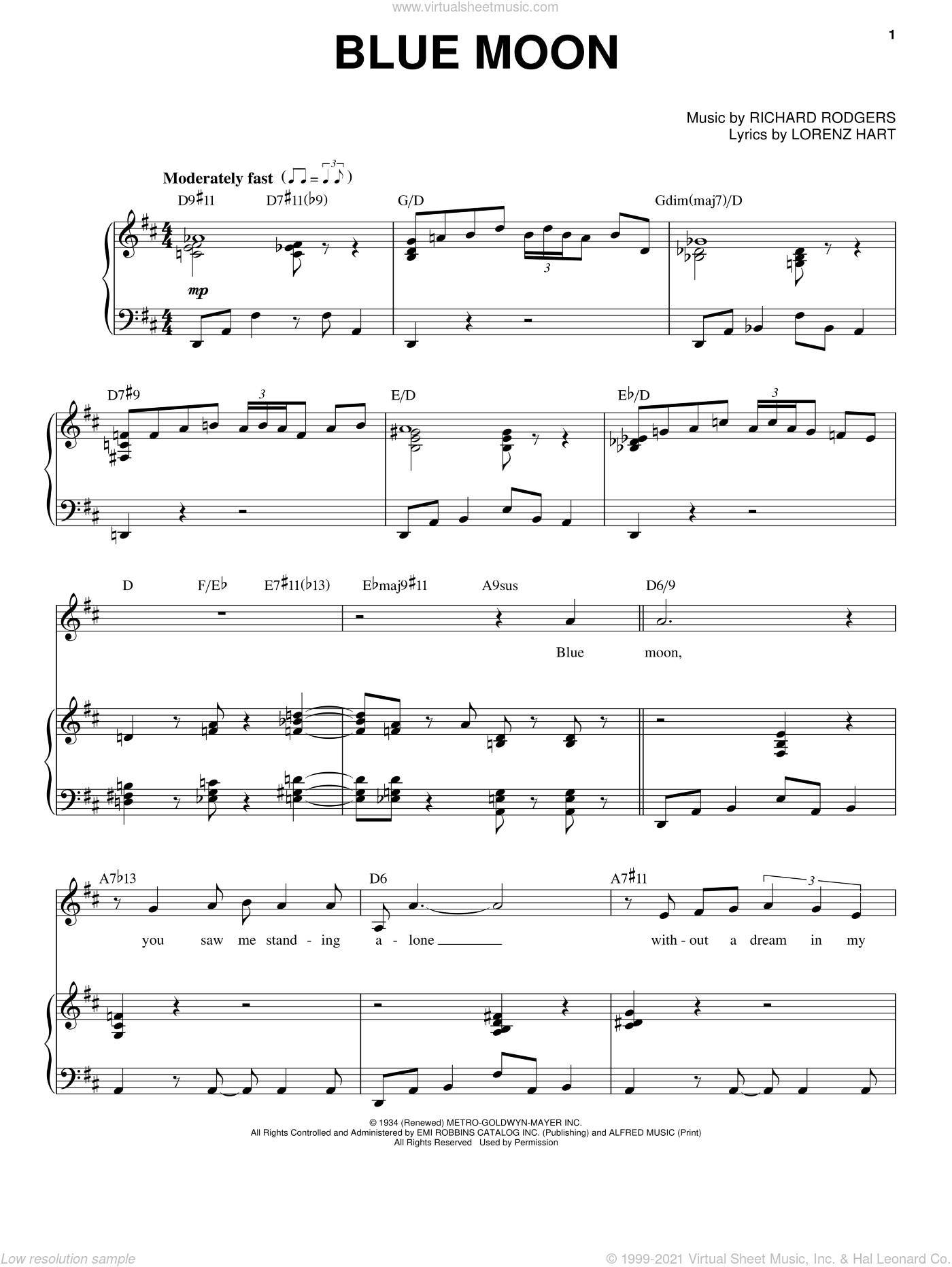 Blue Moon sheet music for voice and piano by Richard Rodgers, Elvis Presley, Frank Sinatra, The Marcels and Lorenz Hart. Score Image Preview.