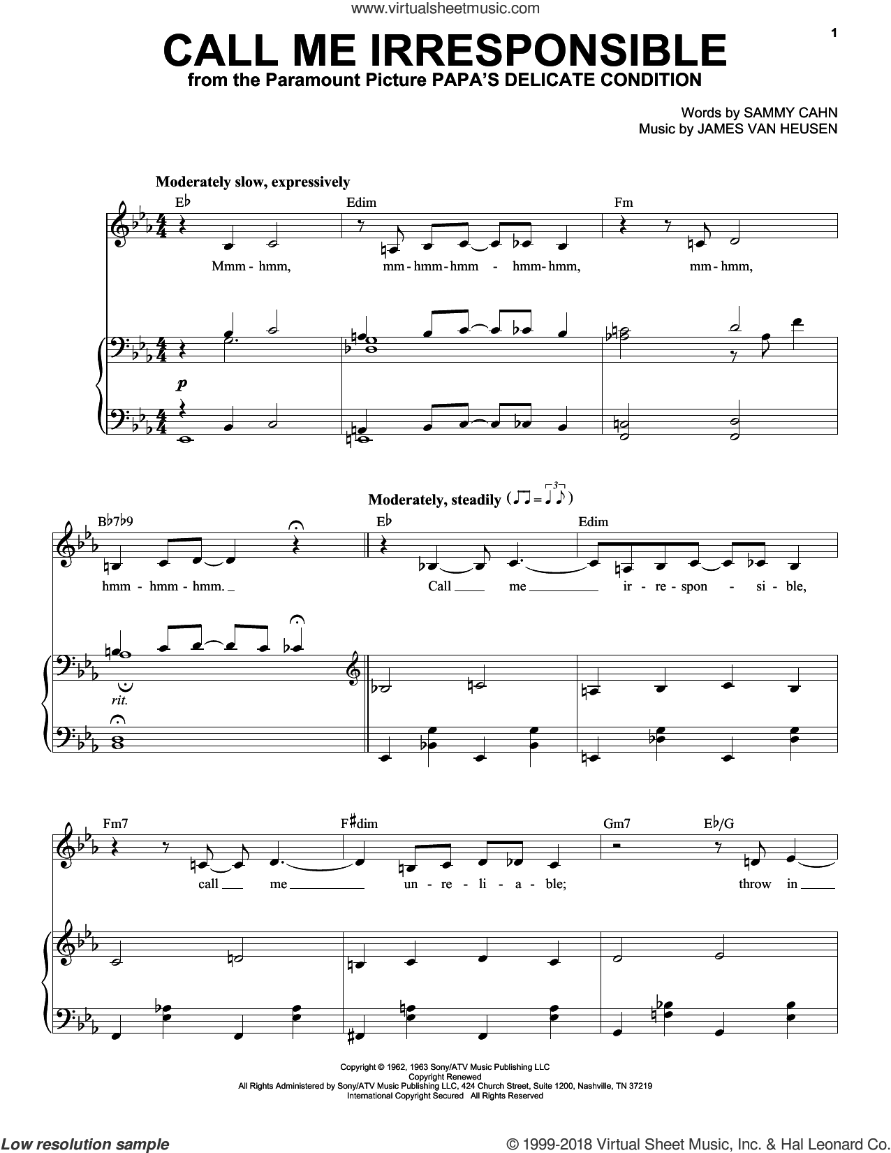 Call Me Irresponsible sheet music for voice and piano by Frank Sinatra, Dinah Washington, Jack Jones, Jimmy van Heusen and Sammy Cahn, intermediate skill level