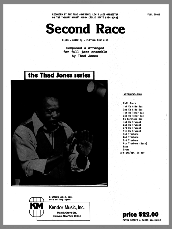 Second Race (COMPLETE) sheet music for jazz band by Thad Jones, intermediate