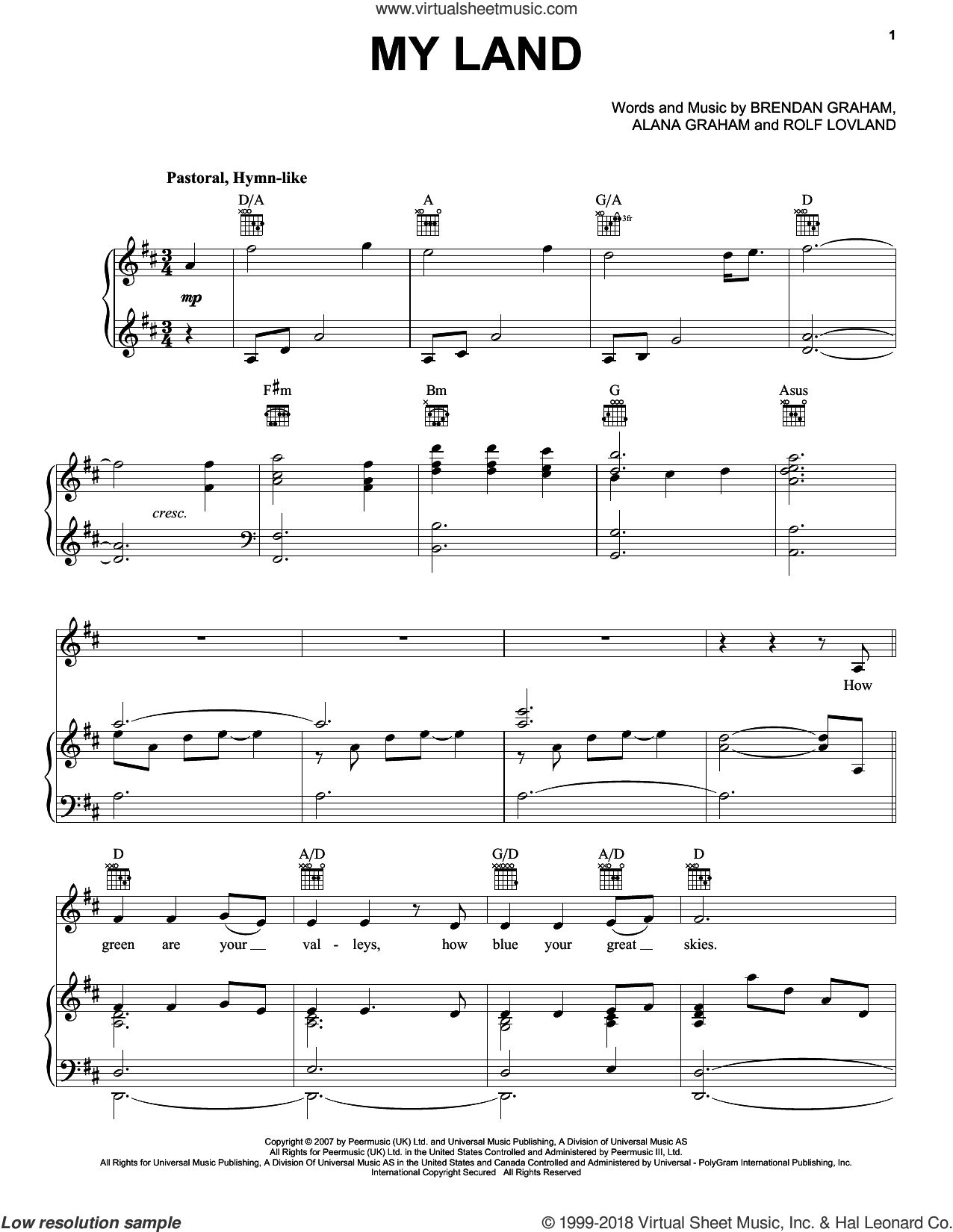 My Land sheet music for voice, piano or guitar by Rolf Lovland, Celtic Thunder, Alana Graham and Brendan Graham. Score Image Preview.