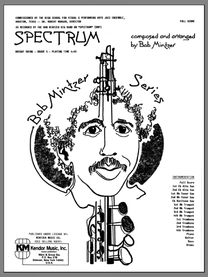 Spectrum (COMPLETE) sheet music for jazz band by Bob Mintzer, intermediate. Score Image Preview.