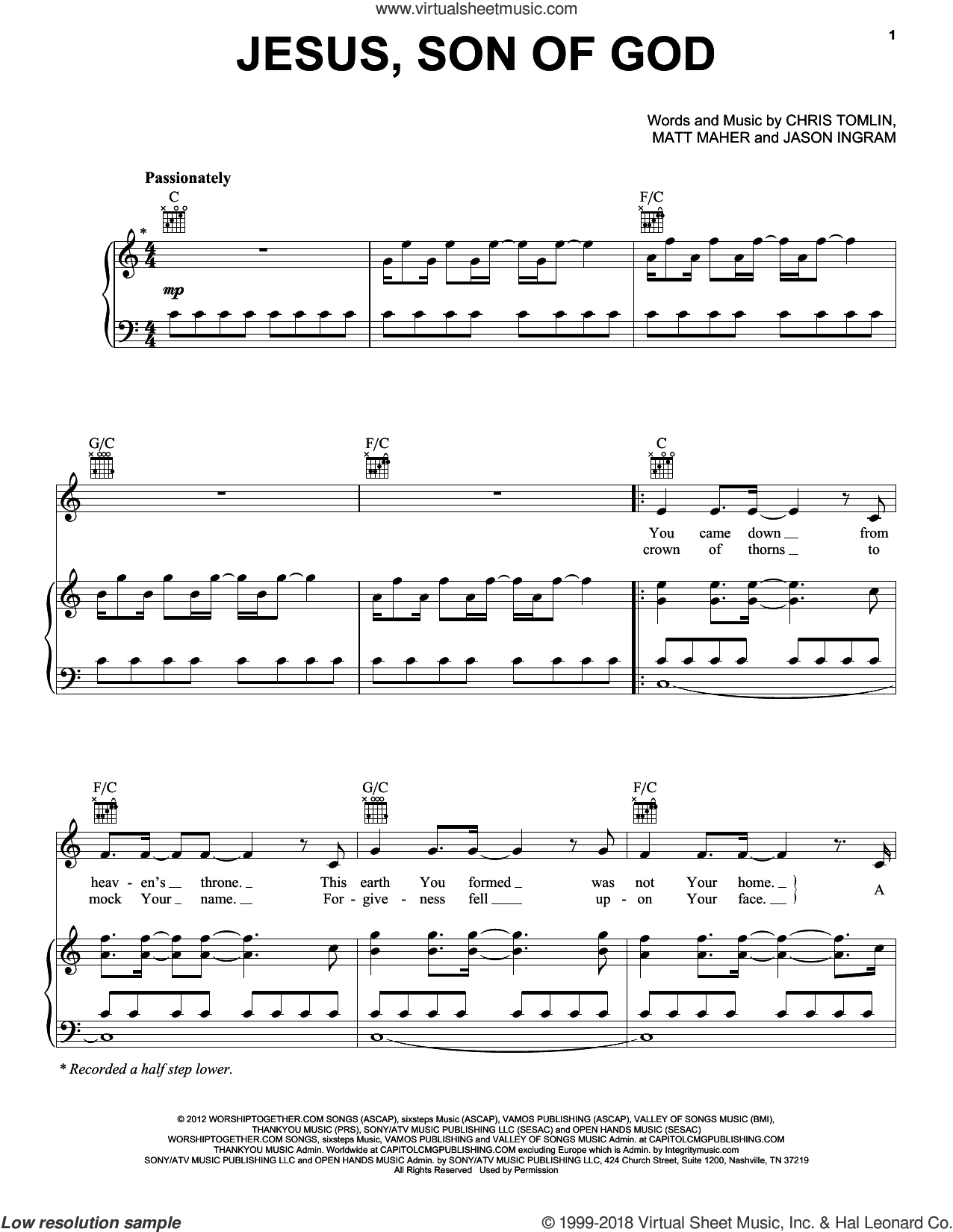 Jesus, Son Of God sheet music for voice, piano or guitar by Passion, Chris Tomlin, Jason Ingram and Matt Maher, intermediate skill level