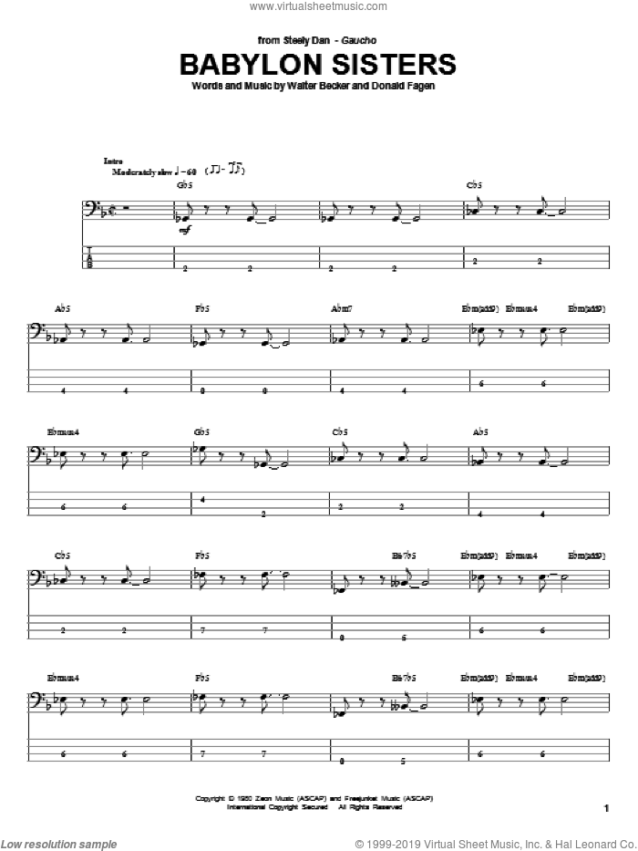 Babylon Sisters sheet music for bass (tablature) (bass guitar) by Walter Becker and Donald Fagen. Score Image Preview.