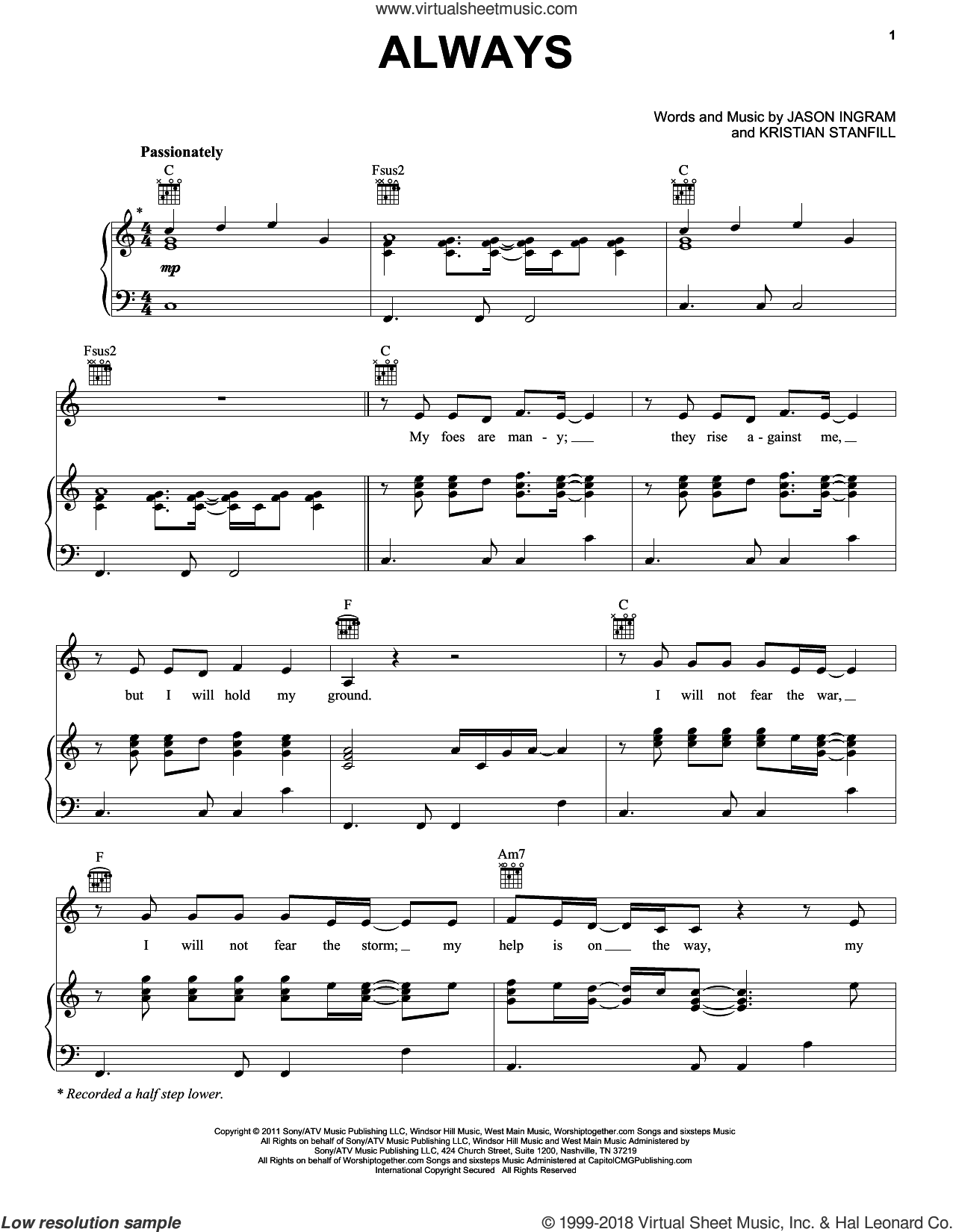 Always sheet music for voice, piano or guitar by Passion, Jason Ingram and Kristian Stanfill, intermediate skill level