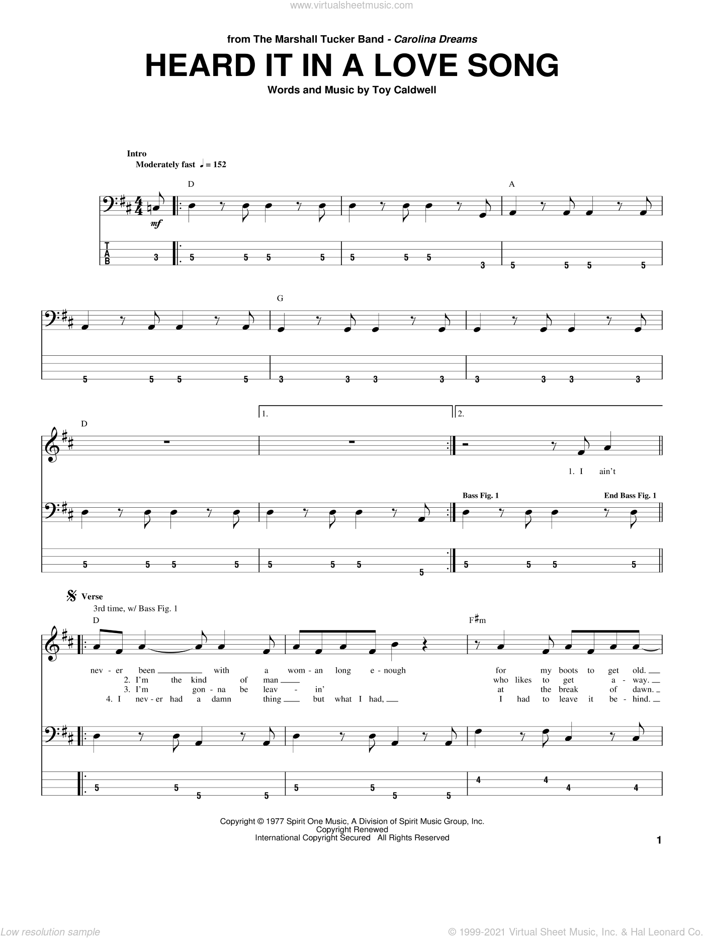 Heard It In A Love Song sheet music for bass (tablature) (bass guitar) by Toy Caldwell