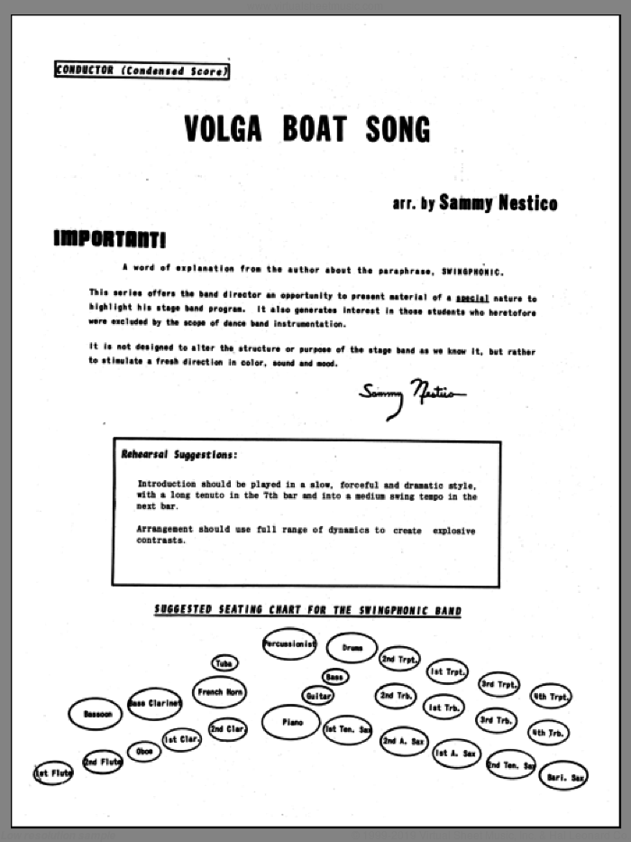 Volga Boat Song (complete set of parts) sheet music for jazz band by Sammy Nestico, intermediate. Score Image Preview.