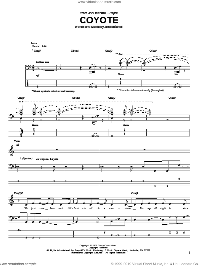 Coyote sheet music for bass (tablature) (bass guitar) by Joni Mitchell