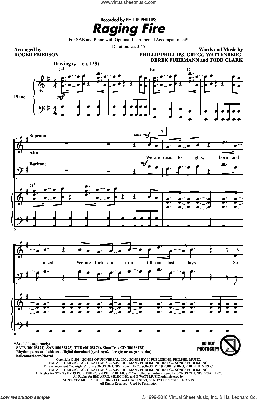 Raging Fire sheet music for choir and piano (SAB) by Todd Clark, Roger Emerson, Gregg Wattenberg and Phillip Phillips. Score Image Preview.