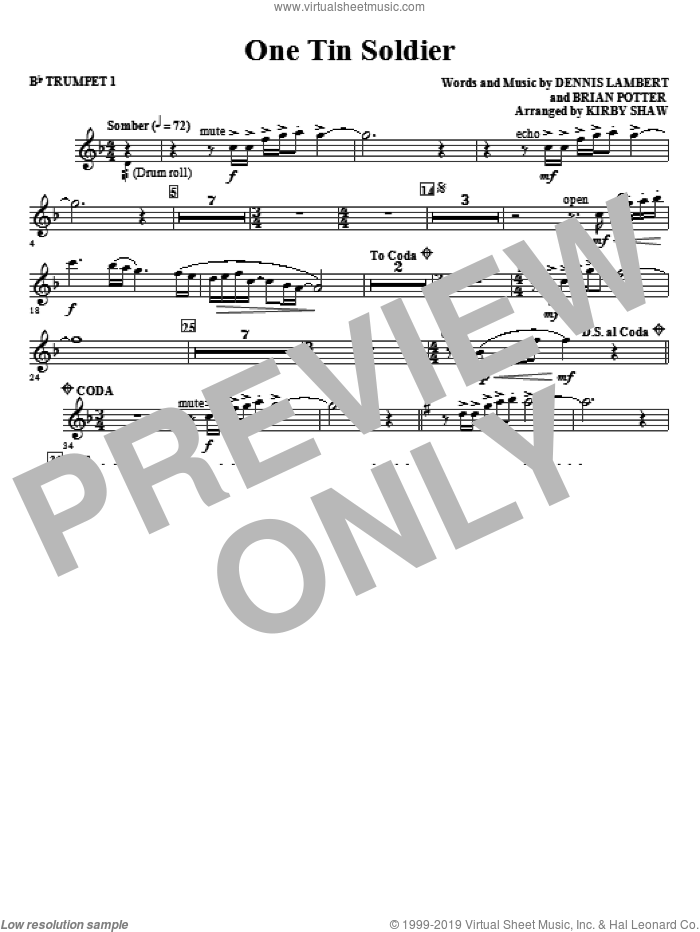One Tin Soldier (complete set of parts) sheet music for orchestra/band (chamber ensemble) by Kirby Shaw and Coven, intermediate orchestra/band (chamber ensemble). Score Image Preview.