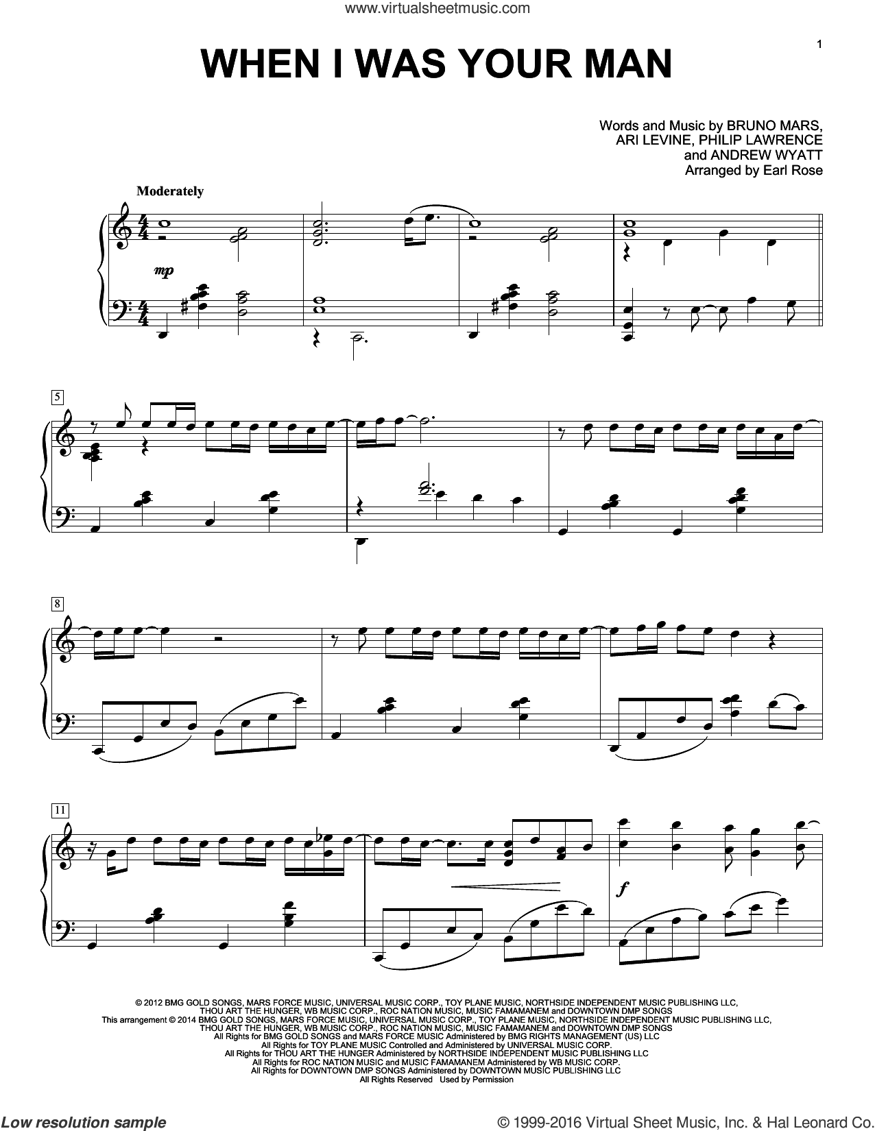 When I Was Your Man sheet music for piano solo by Philip Lawrence, Earl Rose, Andrew Wyatt, Ari Levine and Bruno Mars. Score Image Preview.