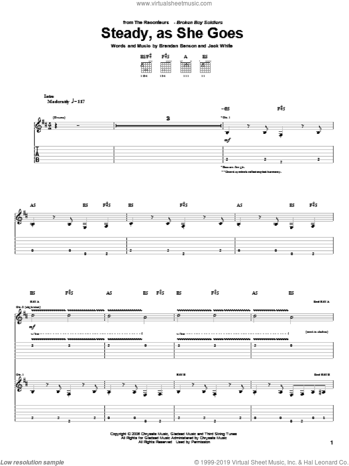 Steady, As She Goes sheet music for guitar (tablature) by Jack White, The Raconteurs and Brendan Benson