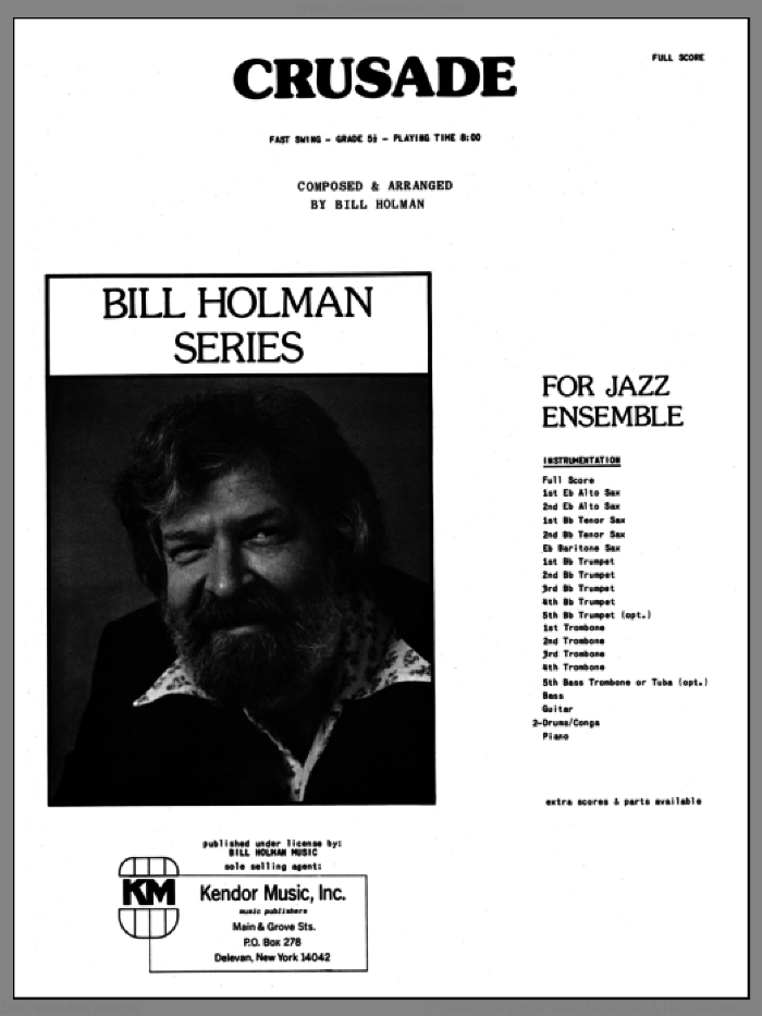 Crusade (COMPLETE) sheet music for jazz band by Bill Holman, intermediate jazz band. Score Image Preview.