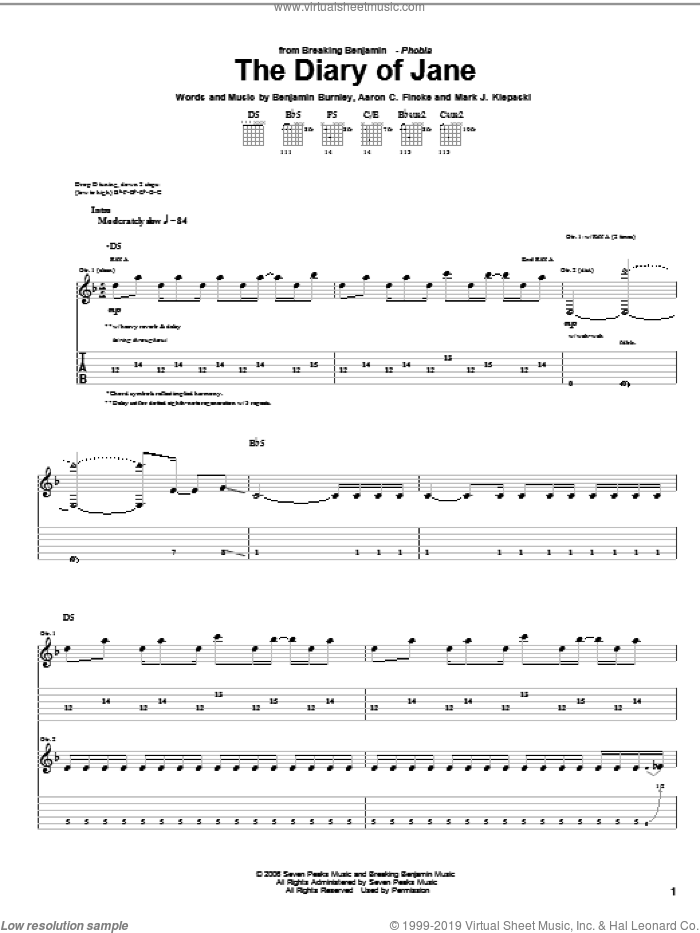 The Diary Of Jane sheet music for guitar (tablature) by Breaking Benjamin, intermediate. Score Image Preview.