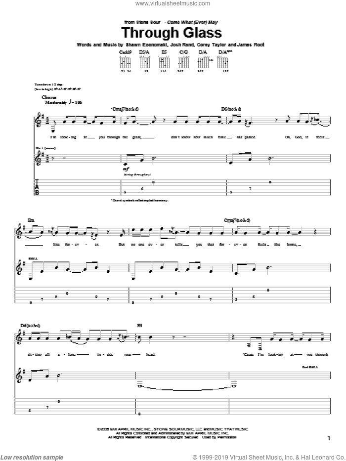 Through Glass sheet music for guitar (tablature) by Stone Sour, Corey Taylor, James Root, Josh Rand and Shawn Economaki, intermediate skill level