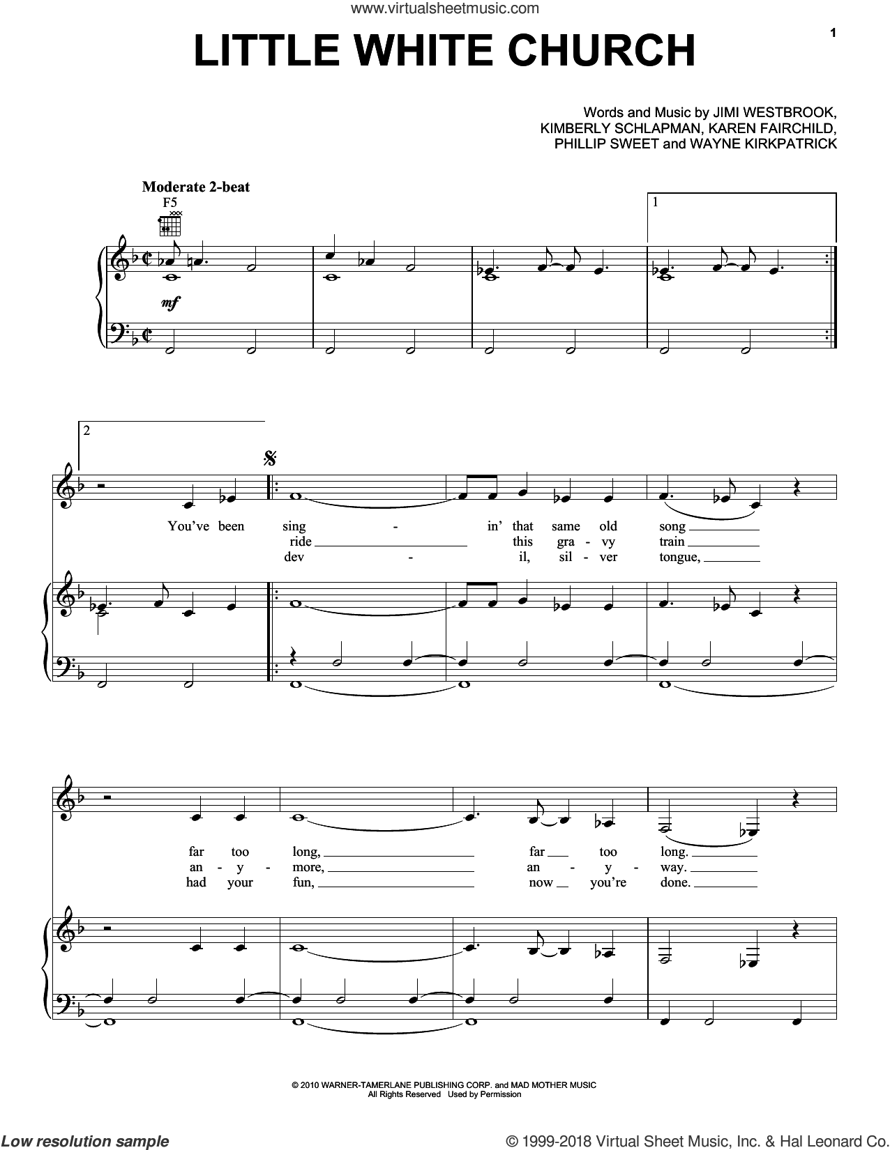 Little White Church sheet music for voice, piano or guitar by Little Big Town, Jimi Westbrook, Karen Fairchild, Kimberly Schlapman, Phillip Sweet and Wayne Kirkpatrick, intermediate skill level