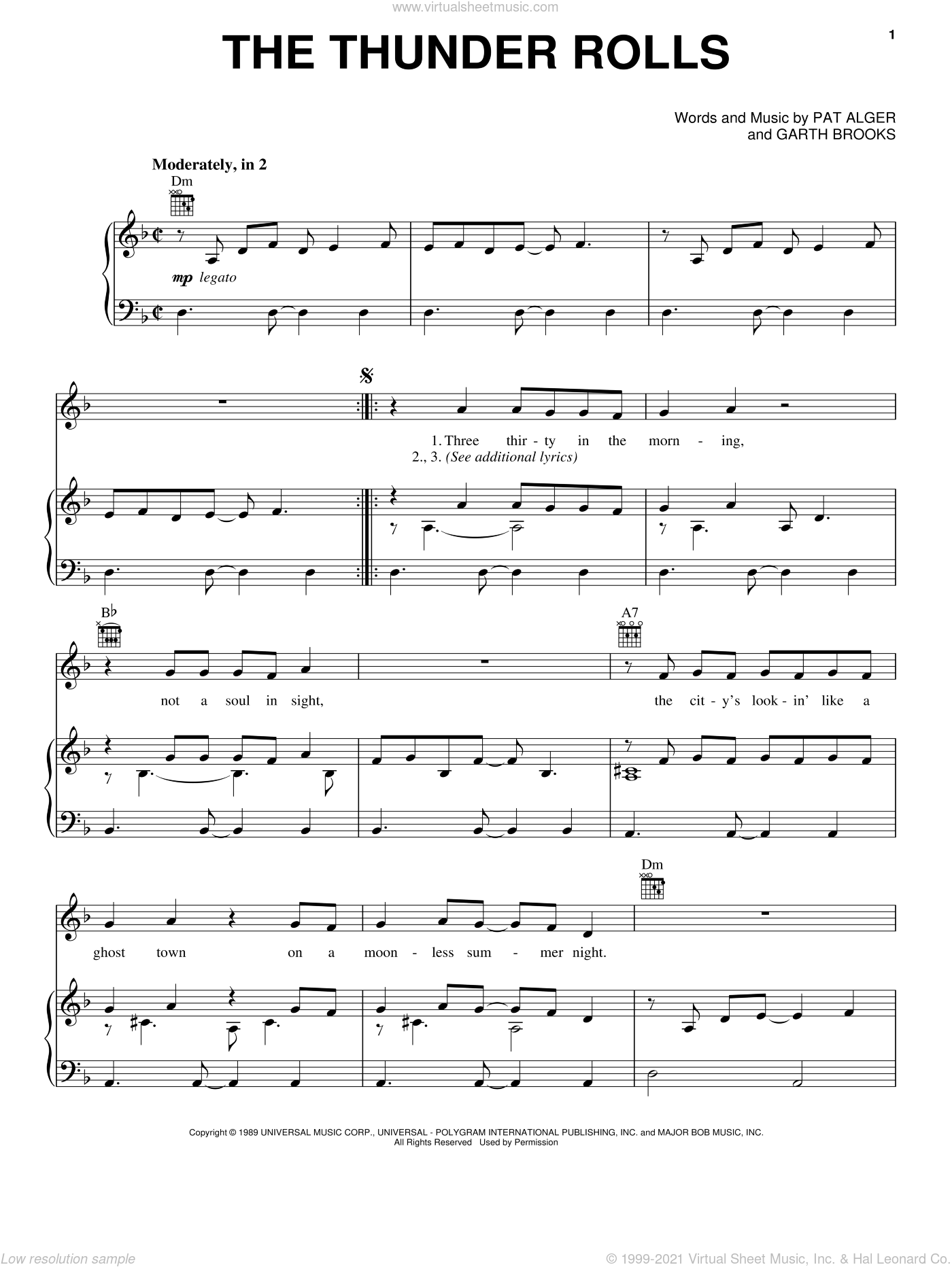 The Thunder Rolls sheet music for voice, piano or guitar by Patrick Alger and Garth Brooks. Score Image Preview.