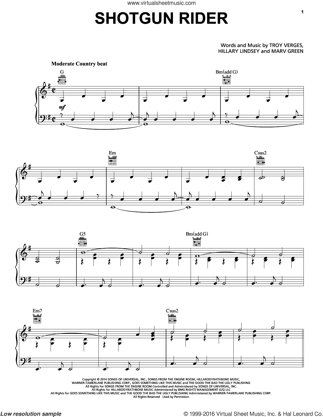 Shotgun Rider sheet music for voice, piano or guitar by Tim McGraw, Hillary Lindsey, Marv Green and Troy Verges, intermediate skill level