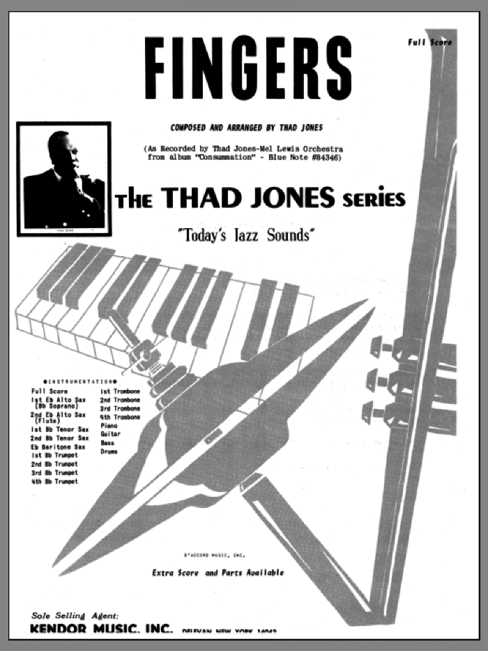 Fingers (COMPLETE) sheet music for jazz band by Thad Jones, intermediate skill level