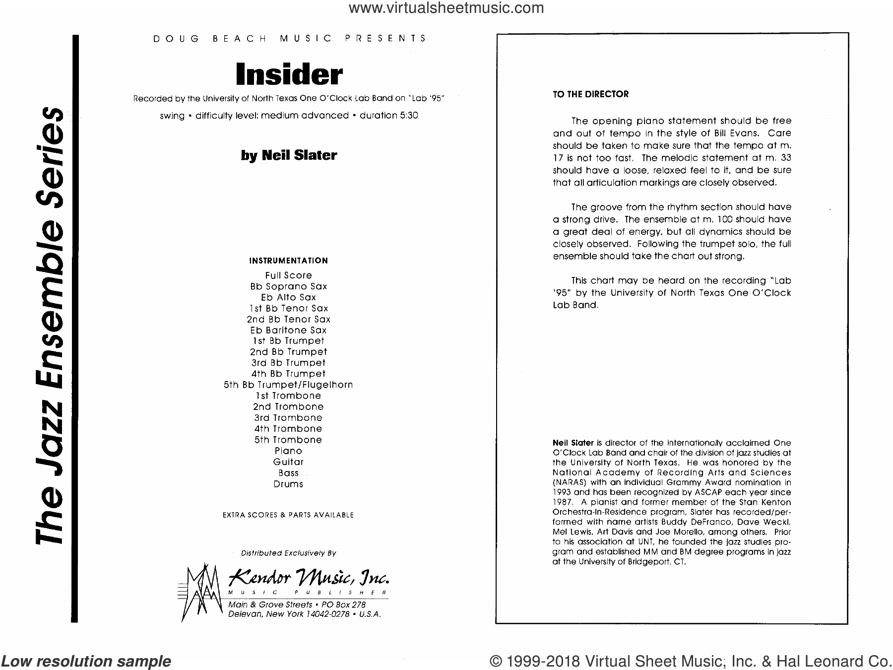 Insider (COMPLETE) sheet music for jazz band by Neil Slater, intermediate skill level