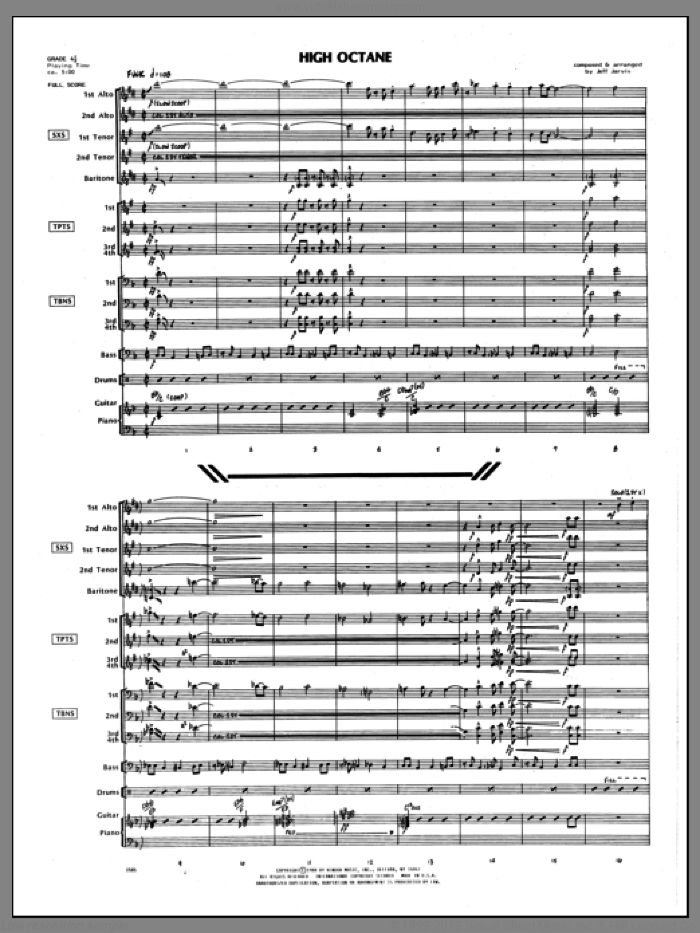 High Octane (COMPLETE) sheet music for jazz band by Jeff Jarvis, intermediate skill level