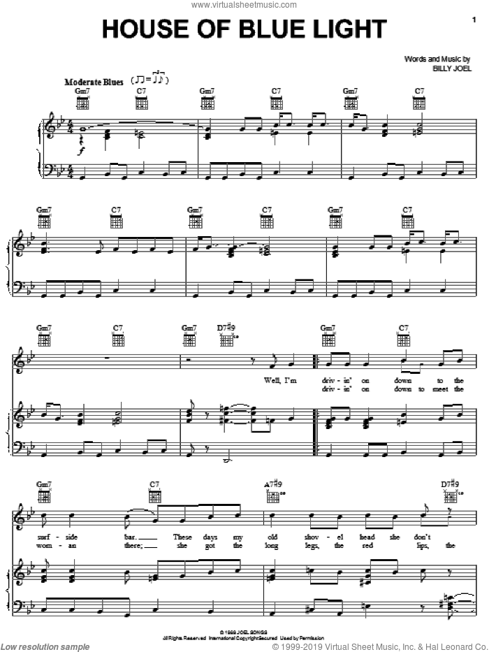 House Of Blue Light sheet music for voice, piano or guitar by Billy Joel, intermediate. Score Image Preview.