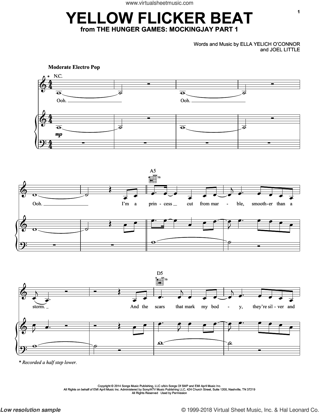 Yellow Flicker Beat sheet music for voice, piano or guitar by Lorde, intermediate voice, piano or guitar. Score Image Preview.
