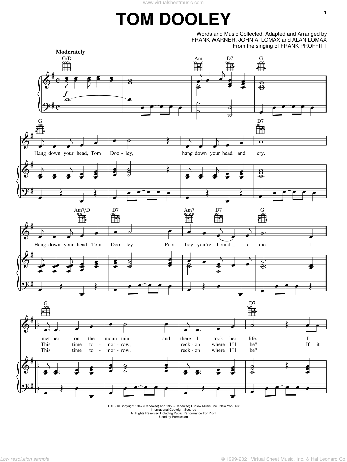 Tom Dooley sheet music for voice, piano or guitar by Kingston Trio, Frank Warner and John A. Lomax, intermediate skill level