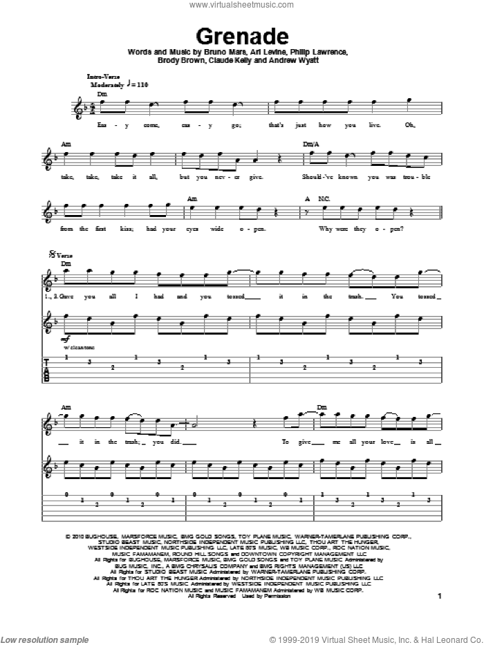 Grenade sheet music for guitar (tablature, play-along) by Philip Lawrence, Bruno Mars, Andrew Wyatt, Ari Levine, Brody Brown and Claude Kelly. Score Image Preview.