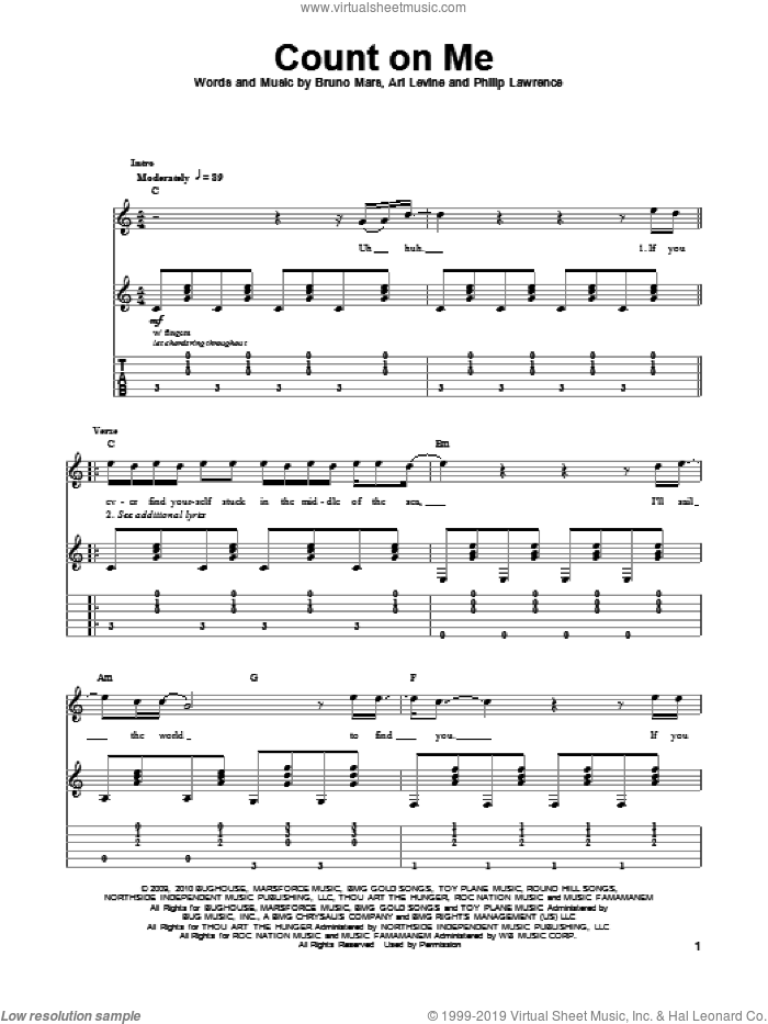 Count On Me sheet music for guitar (tablature, play-along) by Bruno Mars, Ari Levine and Philip Lawrence. Score Image Preview.