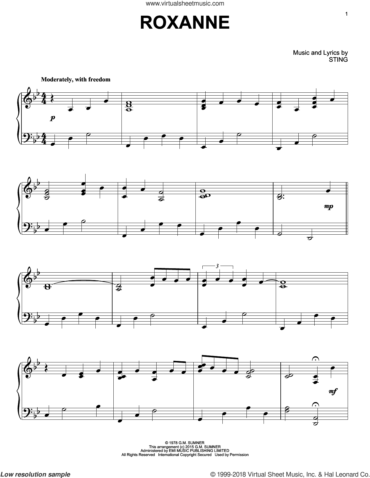 Roxanne, (intermediate) sheet music for piano solo by The Police, Juliet Simms, Miscellaneous and Sting, intermediate skill level