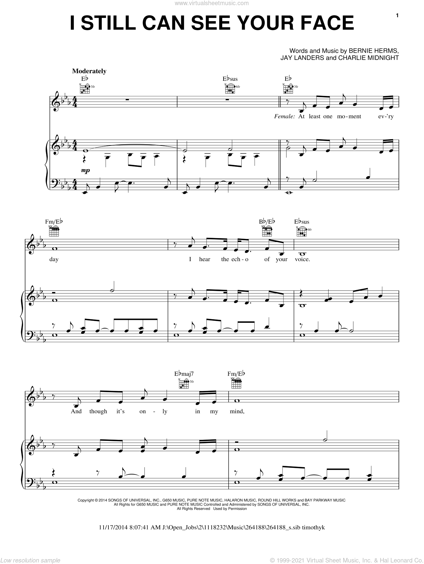 I Still Can See Your Face sheet music for voice, piano or guitar by Barbara Streisand, Barbra Streisand and Andrea Bocelli, Bernie Herms, Charlie Midnight and Jay Landers, intermediate skill level