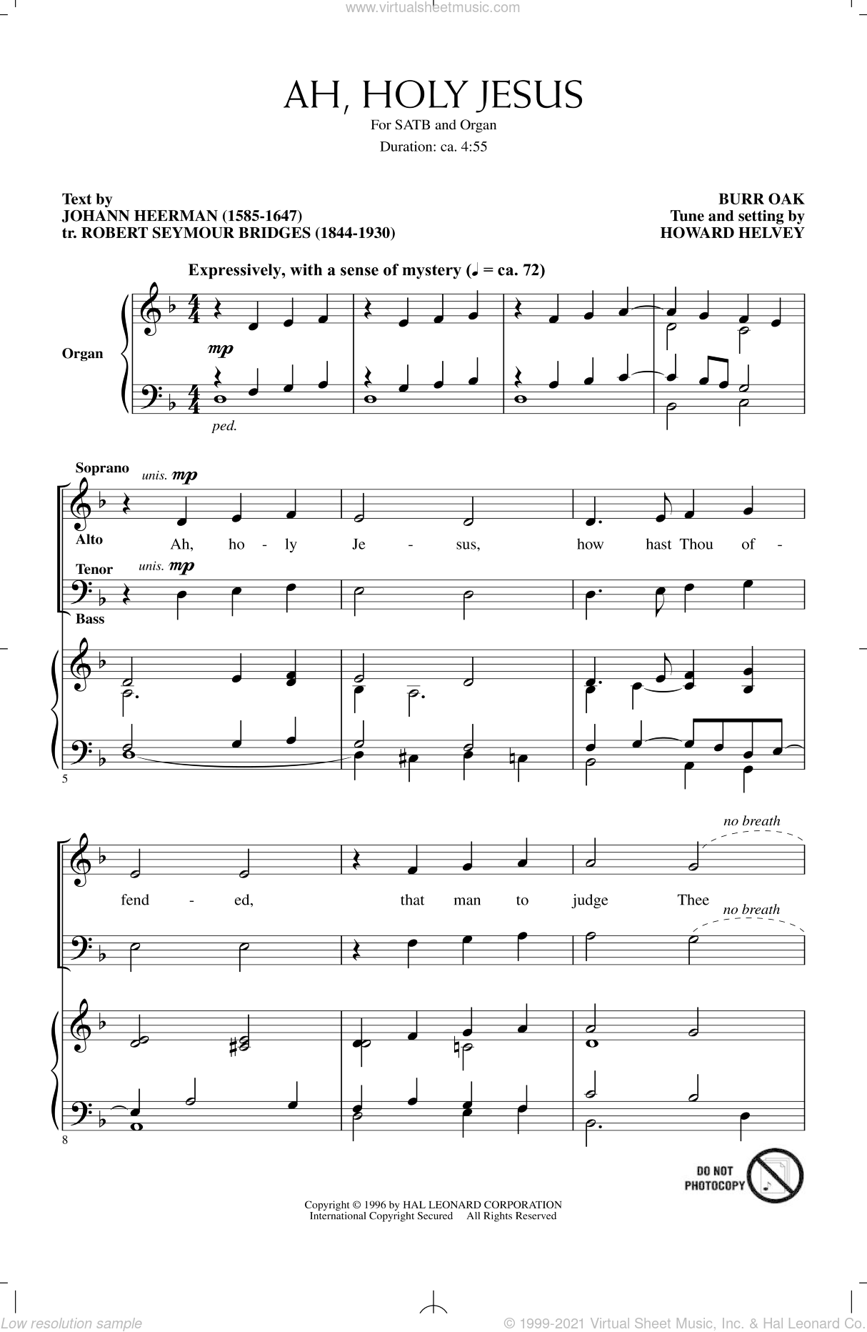 Ah, Holy Jesus sheet music for choir and piano (SATB) by Robert Seymour Bridges and Howard Helvey. Score Image Preview.