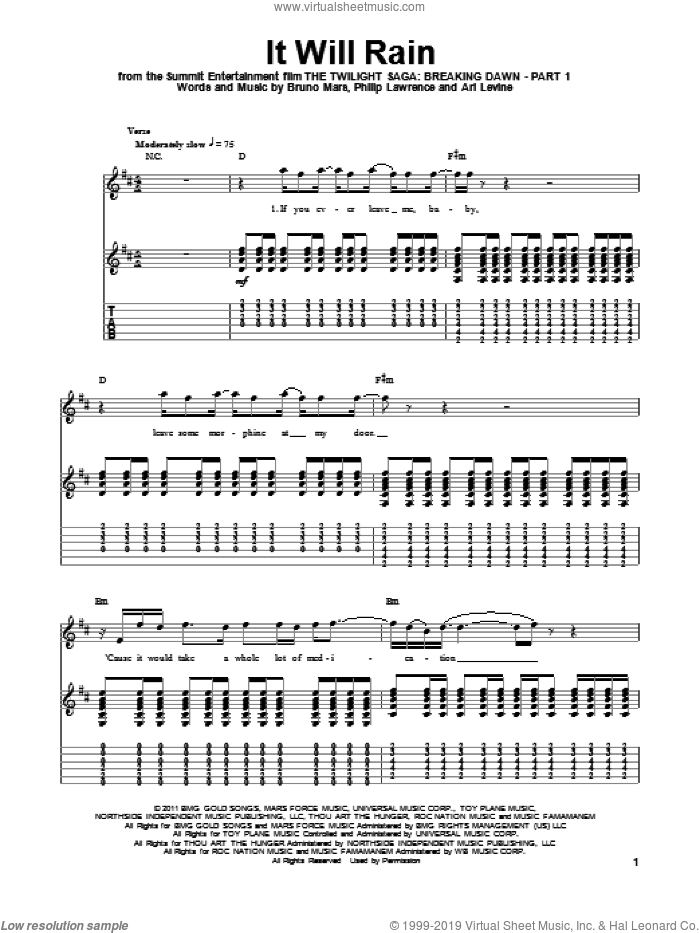 It Will Rain sheet music for guitar (tablature, play-along) by Bruno Mars, Ari Levine and Philip Lawrence, intermediate guitar (tablature, play-along). Score Image Preview.