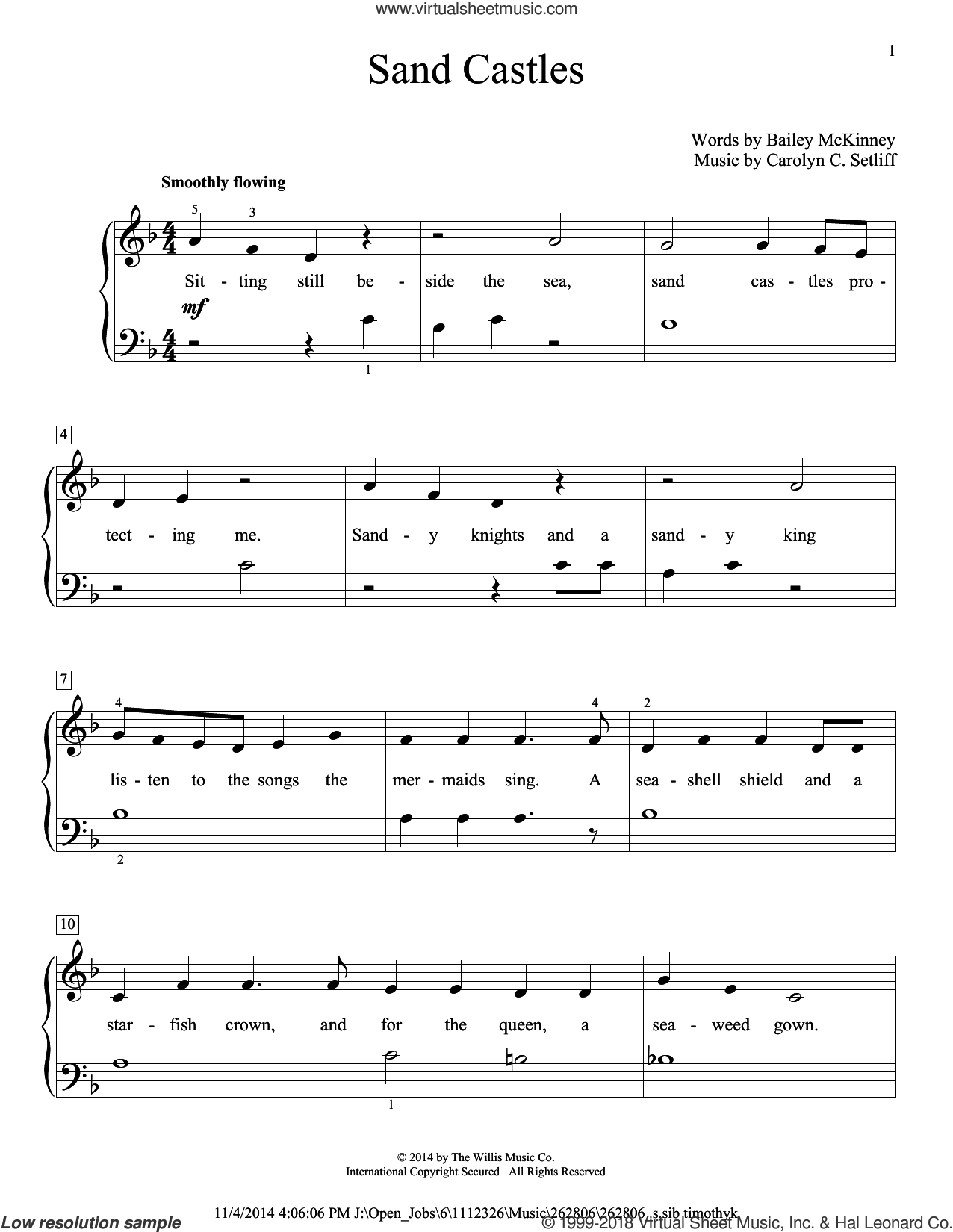 Sand Castles sheet music for piano solo (elementary) by Bailey McKinney and Carolyn C. Setliff. Score Image Preview.