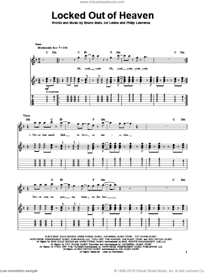 Locked Out Of Heaven sheet music for guitar (tablature, play-along) by Bruno Mars, Ari Levine and Philip Lawrence, intermediate