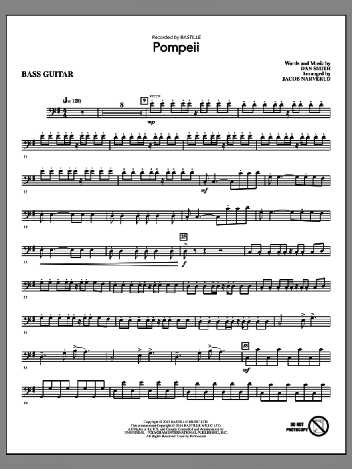 Pompeii (complete set of parts) sheet music for orchestra/band by Jacob Narverud, Bastille and Dan Smith, intermediate skill level