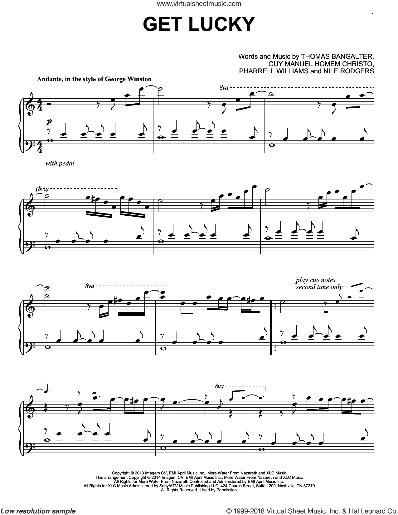 Get Lucky sheet music for piano solo by Daft Punk Featuring Pharrell Williams, Guy Manuel Homem Christo, Nile Rodgers, Pharrell Williams and Thomas Bangalter, intermediate skill level
