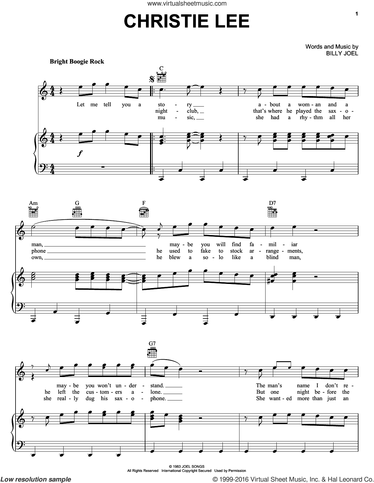 Christie Lee sheet music for voice, piano or guitar by Billy Joel, intermediate skill level