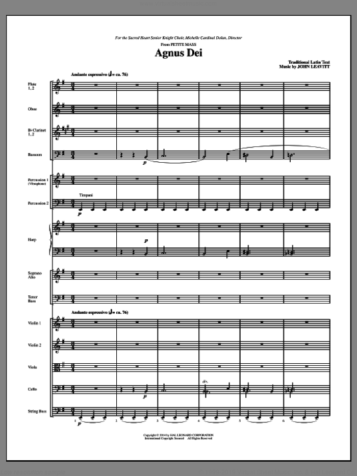 Agnus Dei (COMPLETE) sheet music for orchestra/band (chamber ensemble) by John Leavitt, intermediate